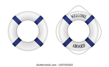 Lifebuoy set. Includes design with rope and welcome lettering. Vector illustration isolated for all backgrounds.