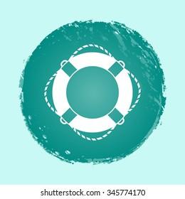 lifebuoy vector icon on round button