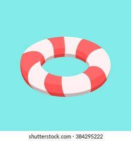 Lifebuoy vector. Isolated lifebuoy. Isometric lifebuoy. Stripped lifebuoy.