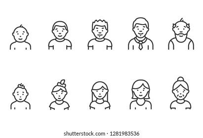 Lifecycle from birth to old age, icon set. People of different ages, male and female, linear icons. Childhood to old age. Line with editable stroke