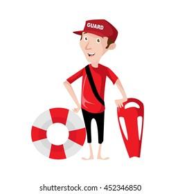 Lifeguard beach guard illustration
