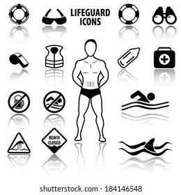 Lifeguard and beach warning signs icons