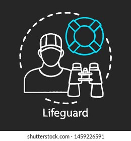Lifeguard chalk icon. Professional rescuer. Beach emergency rescue. Summer part time job. Lifeguard equipment, ring buoy, binoculars. Expert swimmer. Isolated vector chalkboard illustration