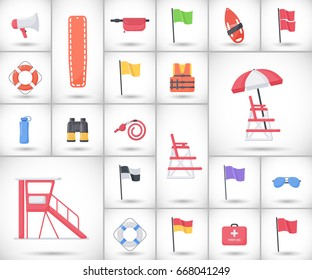 Lifeguard equipment flat vector icons set, big set of design beach safety objects with round shadow isolated on the white background, vector illustration