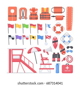 Lifeguard equipment flat vector icons set, big set of design beach safety objects isolated on the white background, vector illustration