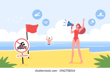 Lifeguard Female Character Yell to Megaphone on Sandy Shore with Red Warning Flag, No Swimming Prohibition Sign, Man Drowning in Sea. Dangerous Situation on Beach. Cartoon People Vector Illustration