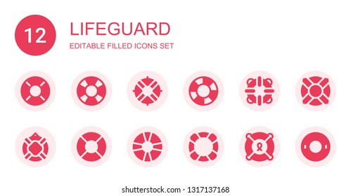 lifeguard icon set. Collection of 12 filled lifeguard icons included Lifebuoy, Lifesaver, Lifeguard, Float