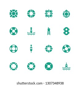 lifeguard icon set. Collection of 16 filled lifeguard icons included Buoy, Lifebuoy, Lifesaver, Lifeguard, Floating, Floats