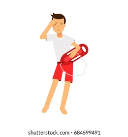 Lifeguard man character on duty standing with life preserver buoy and looking into the distance vector Illustration