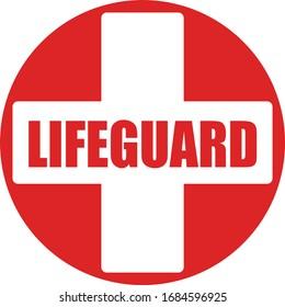 Lifeguard on duty warning sign swim