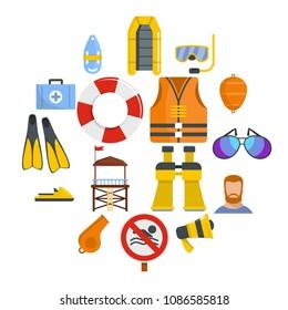 Lifeguard save icons set. Flat illustration of 16 lifeguard save vector icons for web
