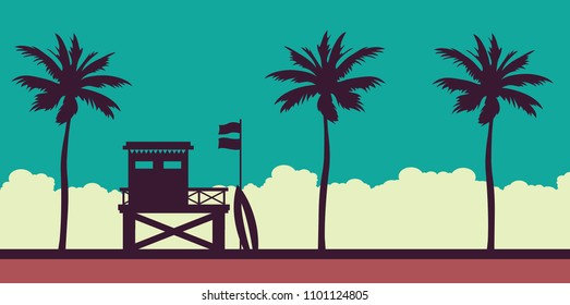 Lifeguard station on a beach with palm on a sunset sky. Vector illustration with tropical landscape. Summer card.