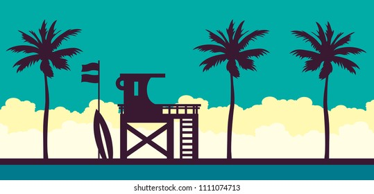 Lifeguard station on a beach with palm on a blue cloudy sky. Vector illustration with tropical landscape. Summer card.