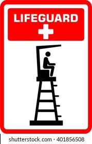 Lifeguard tower. Life. Guard. Sign