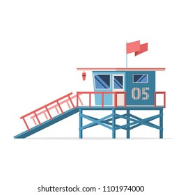Lifeguard tower on the beach. Coast guard station in modern flat design. Vector stock illustration isolated on white background