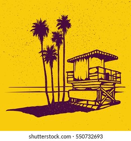 Lifeguard tower on the beach with palms and sea. Vector illustration on grunge texture background