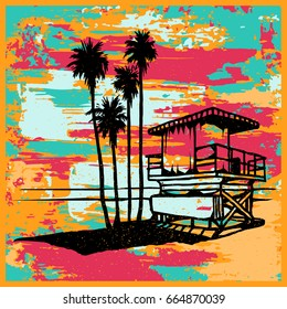 Lifeguard tower on the beach with palms and sea. Vector illustration bright grunge texture background