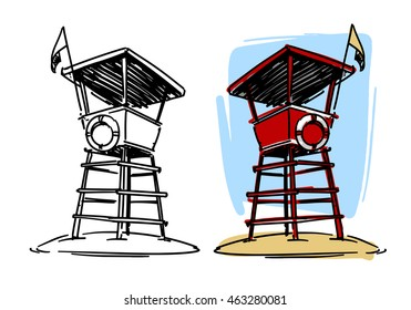 lifeguard tower sketch illustration