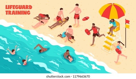 Lifeguard training horizontal vector illustration showing watching people who swim and saving drowning in water and on beach