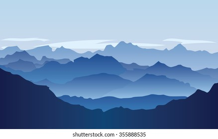 Lifeless landscape with huge mountains over sun. Vector panorama