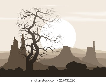 Lifeless landscape with old huge tree and mountains over sunset. Vector illustration.