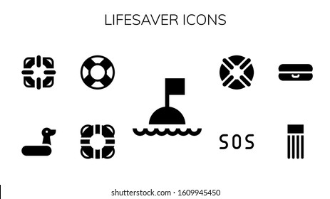 lifesaver icon set. 9 filled lifesaver icons.  Simple modern icons such as: Buoy, Lifesaver, Lifebuoy, Rubber ring, Float, Sos
