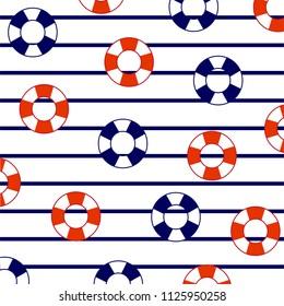 Lifesavers floater on marine stripes. Summer pattern.