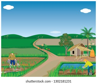 lifestyle of agriculturist at countryside vector design