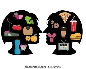 lifestyle - healthy and harmful. Fast-food or healthy food, vegetarian concept. Two silhouette head girl of her way of life