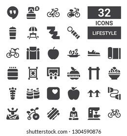 lifestyle icon set. Collection of 32 filled lifestyle icons included Bike, Coffee machine, Meditation, Skii, Bicycle, Yoga, Chest expander, Red carpet, Apple, Rolls, Carrot, Salad