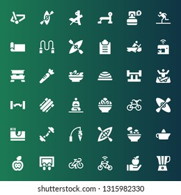 lifestyle icon set. Collection of 36 filled lifestyle icons included Blender, Apple, Bicycle, Doormat, Citrus juicer, Salad, Kayak, Carrot, Dumbbell, Skate park, Meditation, Skii