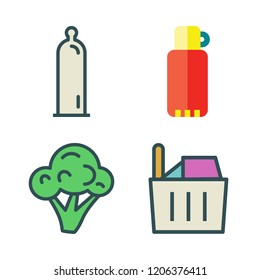 lifestyle icon set. vector set about thermos, condom, broccoli and shopping basket icons set.