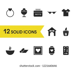 Lifestyle icons set with candle, booth, ring elements. Set of lifestyle icons and kennel concept. Editable vector elements for logo app UI design.