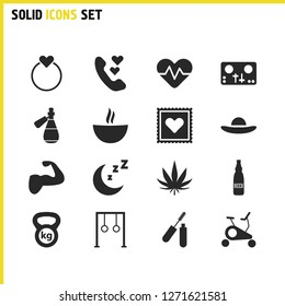 Lifestyle icons set with hemp, ale and muscle elements. Set of lifestyle icons and hatband concept. Editable vector elements for logo app UI design.