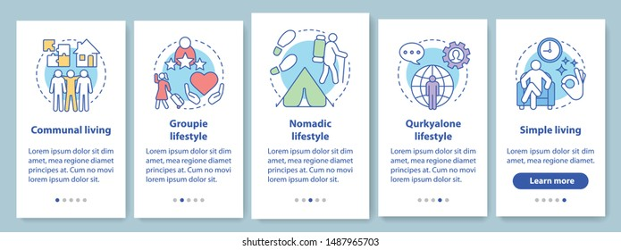 Lifestyle types onboarding mobile app page screen with linear concepts. Communal living, nomadic, groupie life style walkthrough steps graphic instructions. UX, UI, GUI vector template with icons