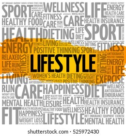 LIFESTYLE word cloud collage, health concept background