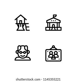 Lifetime from birth to death. Set outline icon EPS 10 vector format. Professional pixel perfect black & white icons optimized for both large and small resolutions. Transparent background.