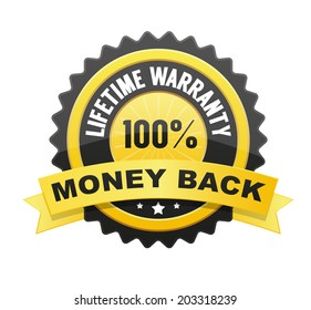 Lifetime warranty and 100% Money back label, badge, seal