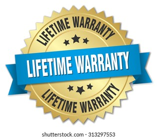 lifetime warranty 3d gold badge with blue ribbon