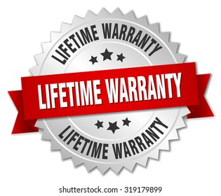 lifetime warranty 3d silver badge with red ribbon