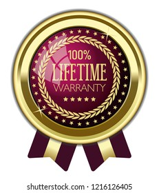 Lifetime Warranty Badge with Ribbons