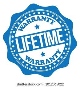 Lifetime Warranty Blue Rubber Stamp