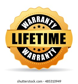 Lifetime warranty gold icon vector illustration on white background
