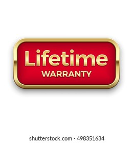 Lifetime warranty golden badge, vector