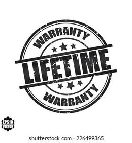 Lifetime warranty grunge rubber stamp. Vector.