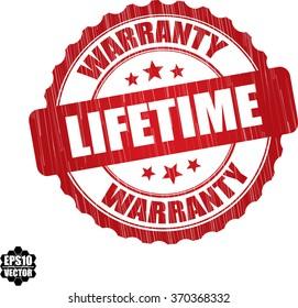 Lifetime warranty grunge rubber stamp, vector illustration
