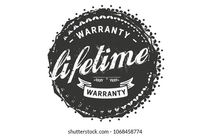 lifetime warranty icon rubber stamp