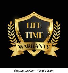 lifetime warranty logo with golden shield and golden ribbon.Vector illustration.