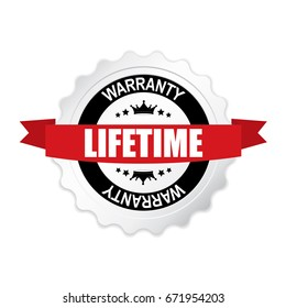 Lifetime Warranty round silver badge with red ribbon.vector illustration