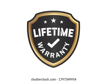 Lifetime Warranty Shield sign on White Background
